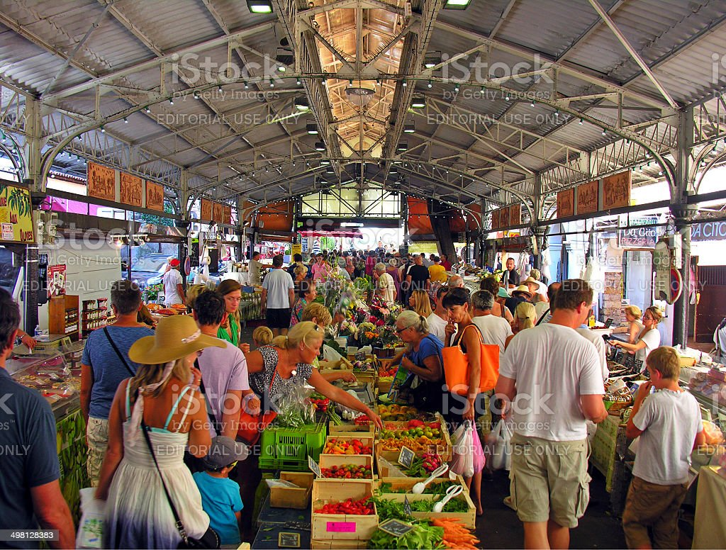 The market square of Antibes, in France, full of people stock photo