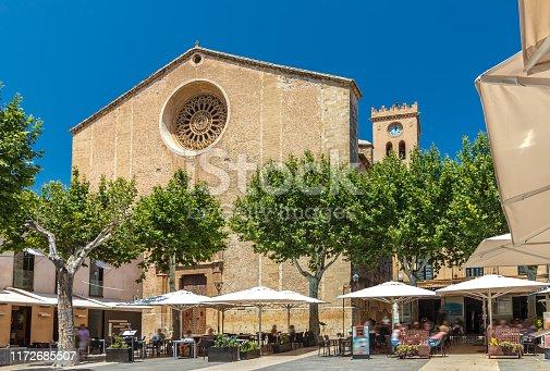 The market square Placa Major and the church Santa Maria dels Àngels - Pollenca - Mallorca