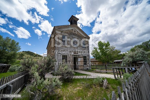 Bannack State Park, Montana - June 29, 2020: The masonic lodge and school house at the ghost town on a summer day