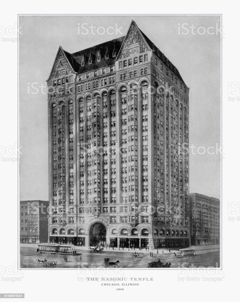 Le Temple maçonnique, Chicago, Illinois, États-Unis, Antique American photo, 1893 - Photo