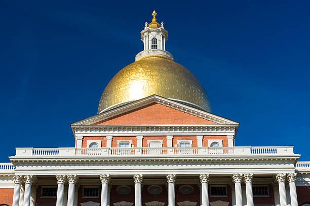 The Massachusetts State House in Boston, USA stock photo