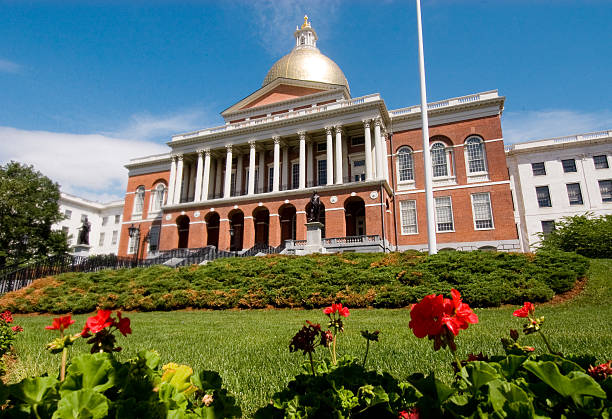 The Massachusetts States House is historical  stock photo