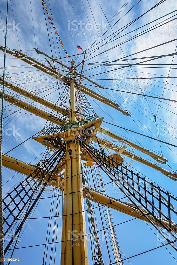 The mast of a sailing ship stock photo