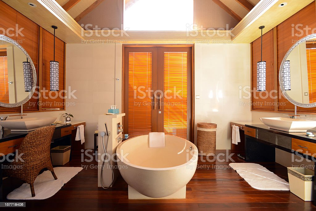 The Master Bathroom of Luxury House stock photo