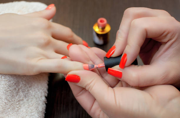 the master of the manicure paints nails with nail polish during the procedure of nail extensions with gel in the beauty salon. professional care for hands. - deposition stock pictures, royalty-free photos & images
