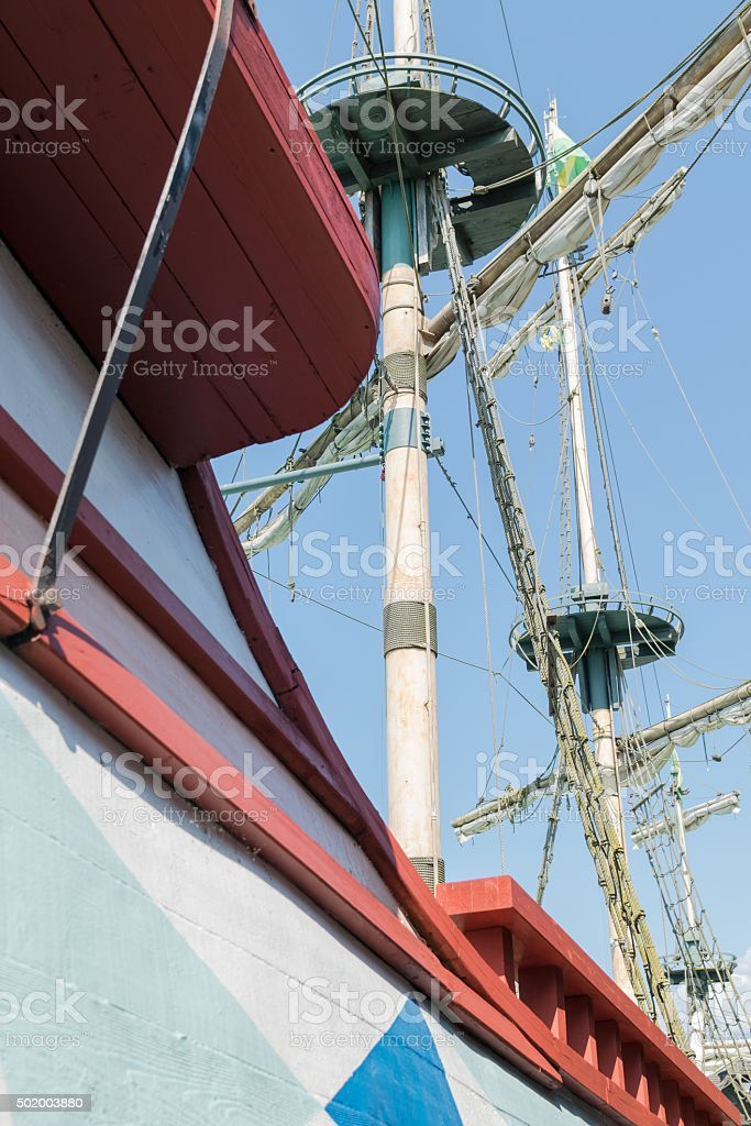 The masts of a sailboat. stock photo
