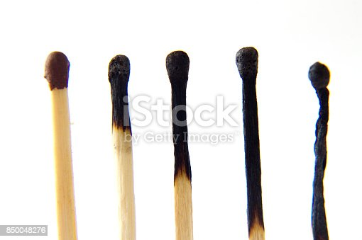istock The matches are ordered in a degree of burntness close-up. macro 850048276
