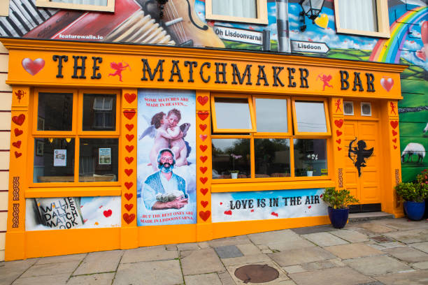 The Matchmaker Bar in Lisdoonvarna, Republic of Ireland Lisdoonvarna, Republic of Ireland - August 19th 2018: The Matchmaker Bar in the spa town of Lisdoonvarna in Ireland. The town hosts an annual matchmaking festival each September. county clare stock pictures, royalty-free photos & images