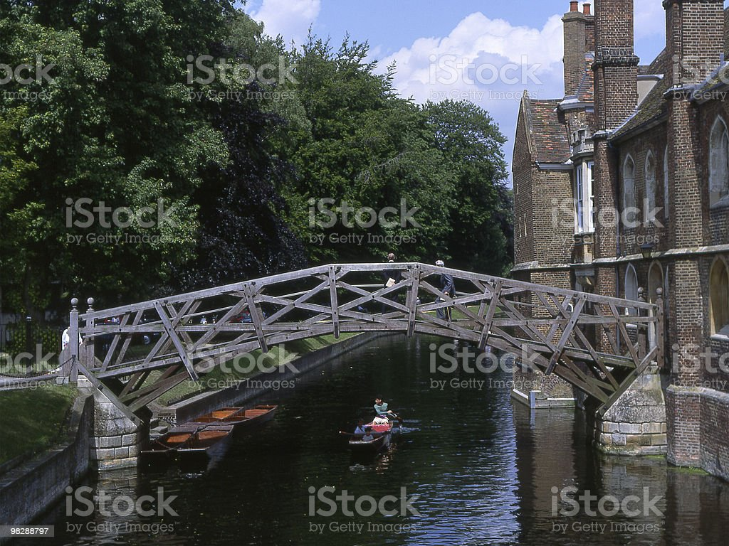 The Mathematical Bridge over River Cam. Queens College. Cambridge royalty-free stock photo