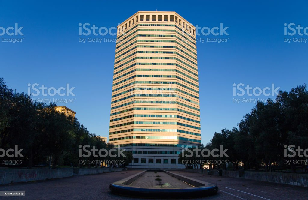 GENOA, ITALY OCTOBER 30, 2016 - The 'Matitone' (Pencil Building) is a skyscraper designed by Skidmore, Owings, Merrill, Lanata and Messina, buisiness center Genoa, Italy, October 30, 2016 stock photo