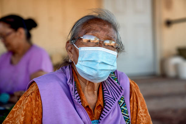 The Matriarch Of A Navajo Family Wearing A Mask At Her Home On The Reservation, Monument Valley, Covid19 stock photo