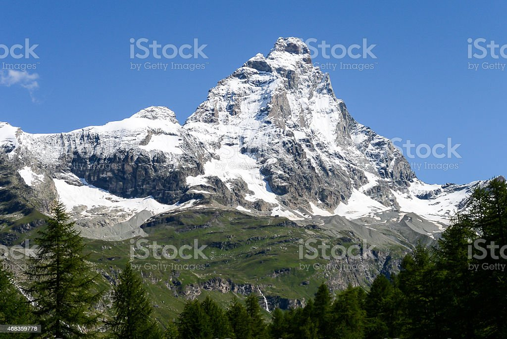 The Matterhorn in a summer morning royalty-free stock photo
