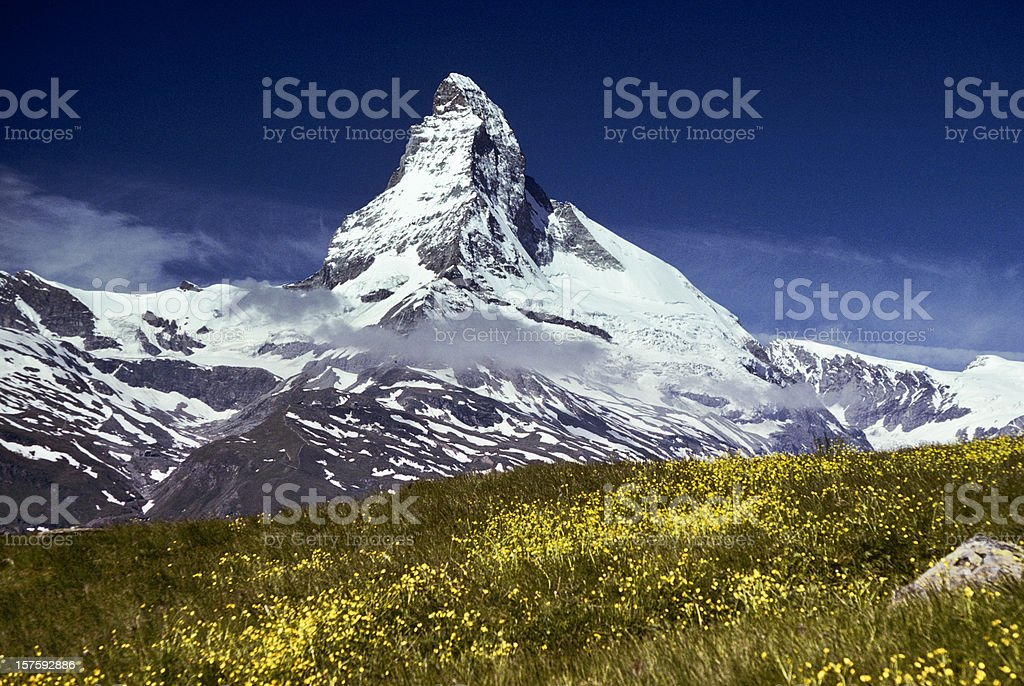 The Matterhorn with Alpine Meadow in Foreground stock photo
