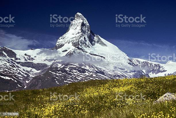 The Matterhorn With Alpine Meadow In Foreground Stock Photo - Download Image Now