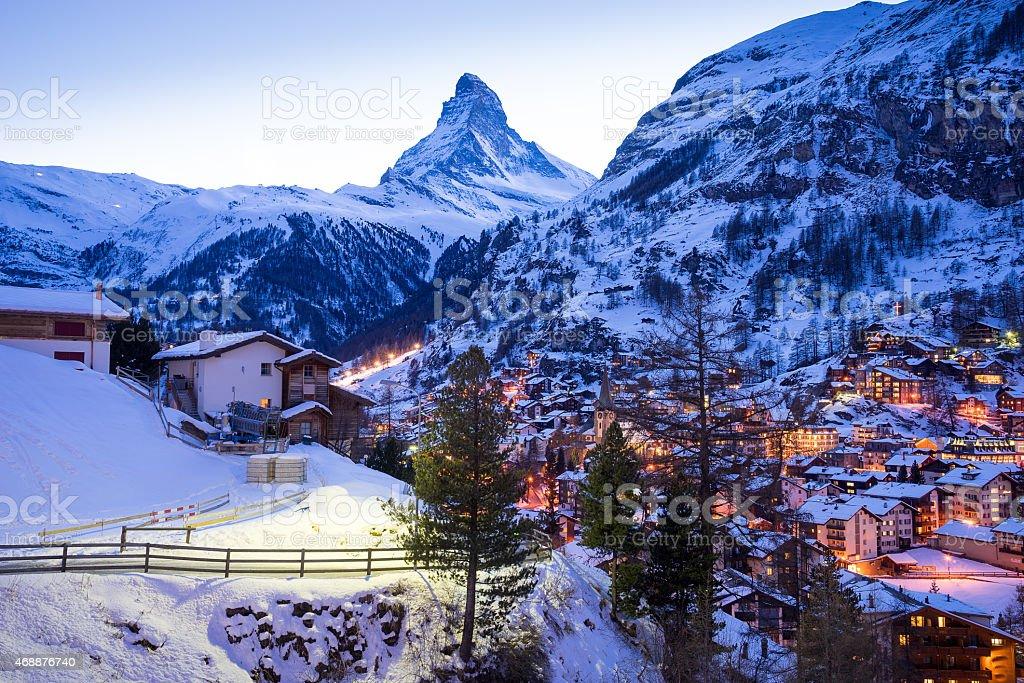 The Matterhorn mountain in Zermatt, Switzerland stock photo