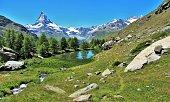 View of the Matterhorn from the Five Lakes Walk, Zermatt, Switzerland