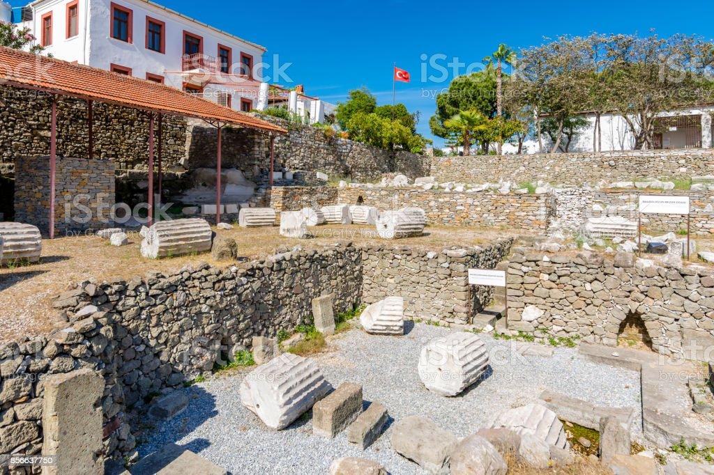 The Mausoleum at Halicarnassus or Tomb of Mausolus in Turkey stock photo