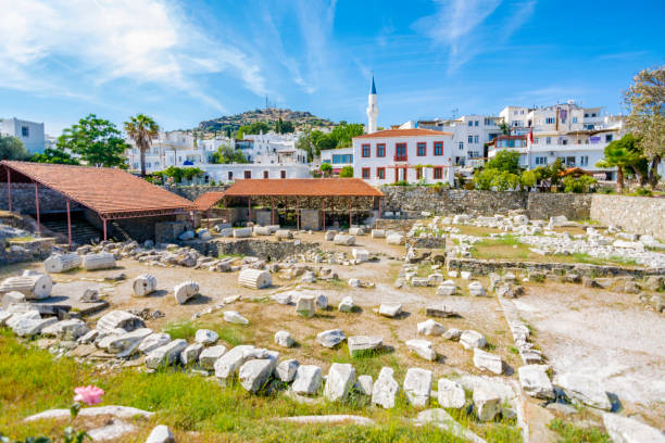 The Mausoleum at Halicarnassus or Tomb of Mausolus in Turkey stock photo