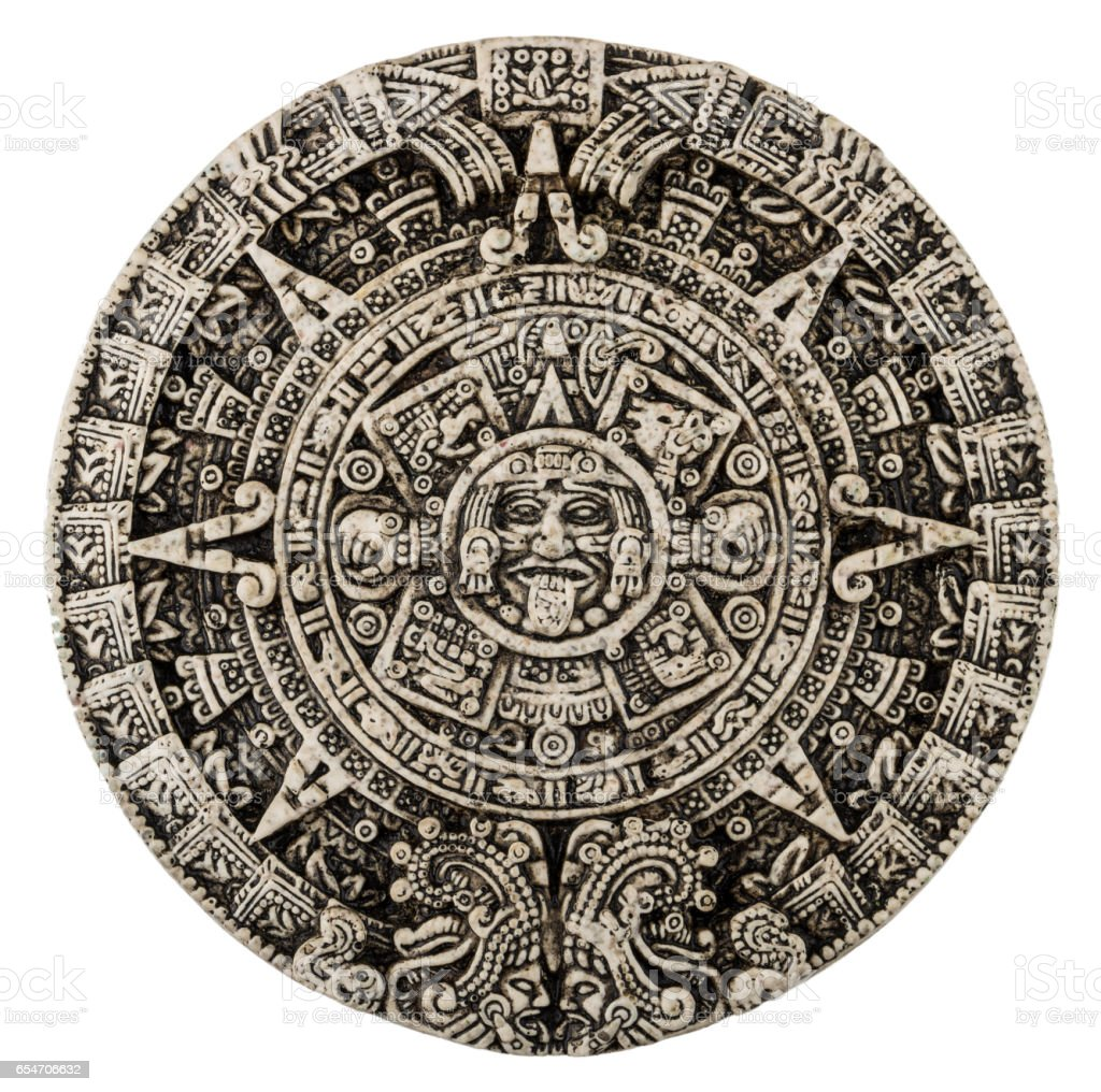 The mayan calendar isolated on white stock photo