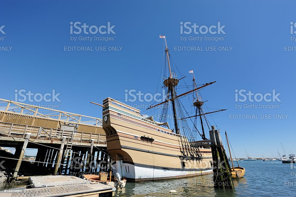 The Mayflower 2 in Plymouth Rock Harbor stock photo