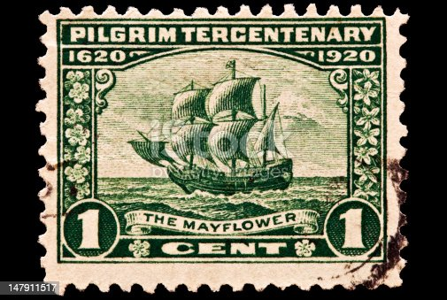 Pilgrim tercentenary issue was issued in 1923. The 1 cent denomination pictures the Mayflower crossing the Atlantic on its way to Plymouth, Mass.