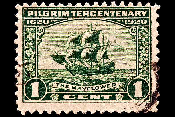 The Mayflower Postal Issue Pilgrim tercentenary issue was issued in 1923. The 1 cent denomination pictures the Mayflower crossing the Atlantic on its way to Plymouth, Mass. pilgrim stock pictures, royalty-free photos & images
