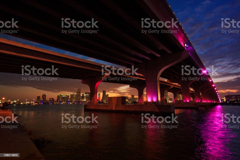 the McArthur Causeway in Miami stock photo