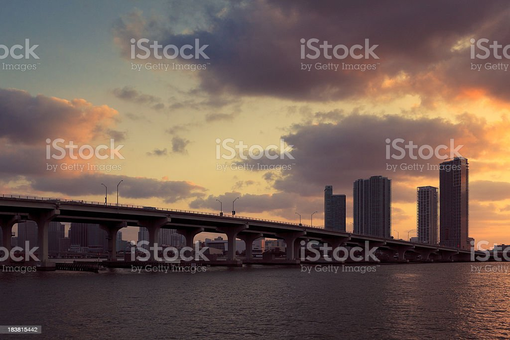 the McArthur Causeway in Miami royalty-free stock photo