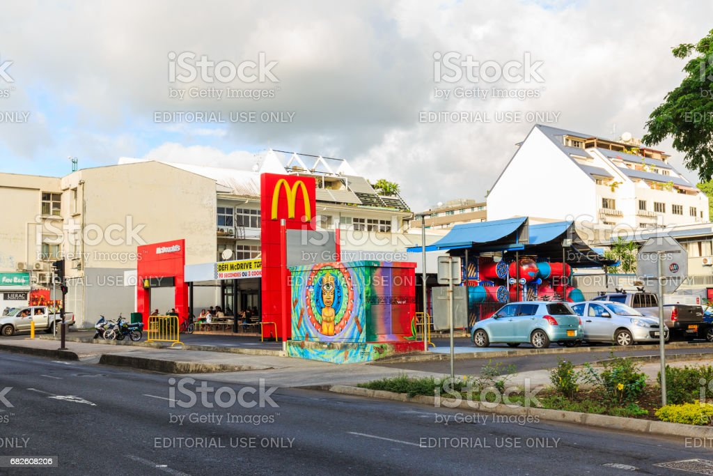 The McDonald's restaurant at where located middle city in Tahiti papeete, French Polynesia. stock photo