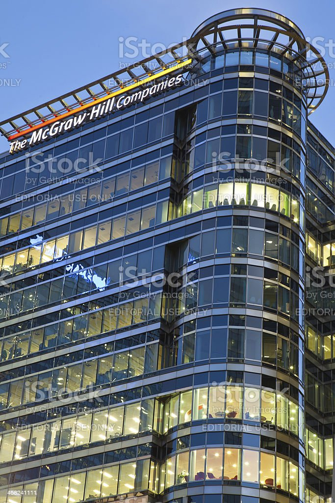 The McGraw Hill Headquarters in Canary Wharf stock photo