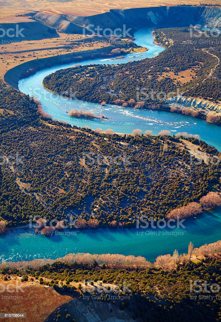 The Meandering Clutha River In New Zealand stock photo