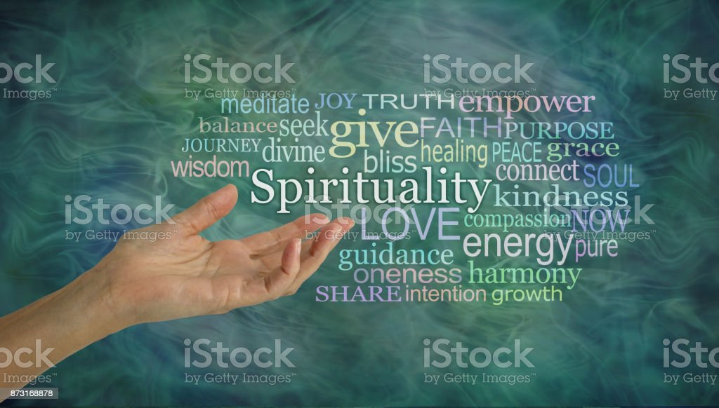 The meaning of Spirituality Word Cloud stock photo
