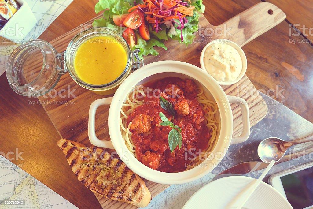 The meatball spaghetti stock photo