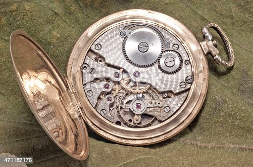 istock The mechanism of an old watch 471187176