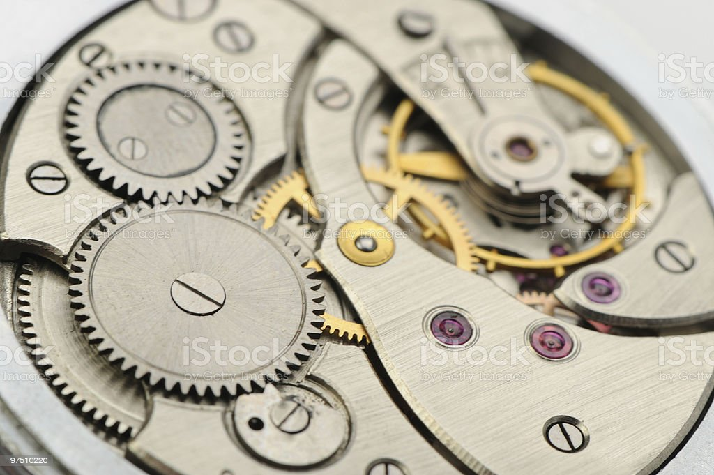 The mechanism of analog hours royalty-free stock photo