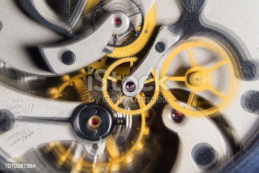istock The mechanism of analog hours. working clock mechanism. A photo close up 1070987364