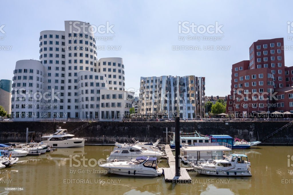 The Media Harbor promenade and The Neuer Zollhof buildings in...