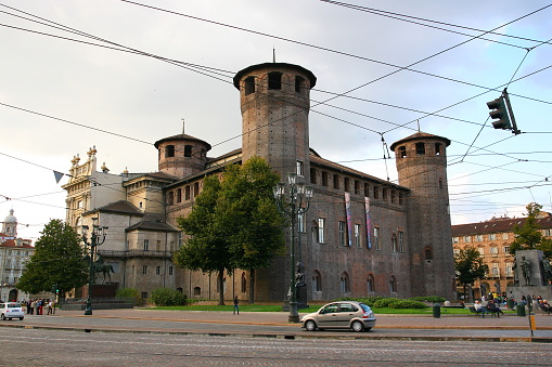 istock The Medieval Acaja Castle at Castle Square in Turin 1216510857