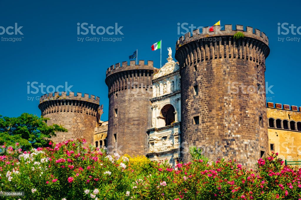 The medieval castle of Maschio Angioino stock photo