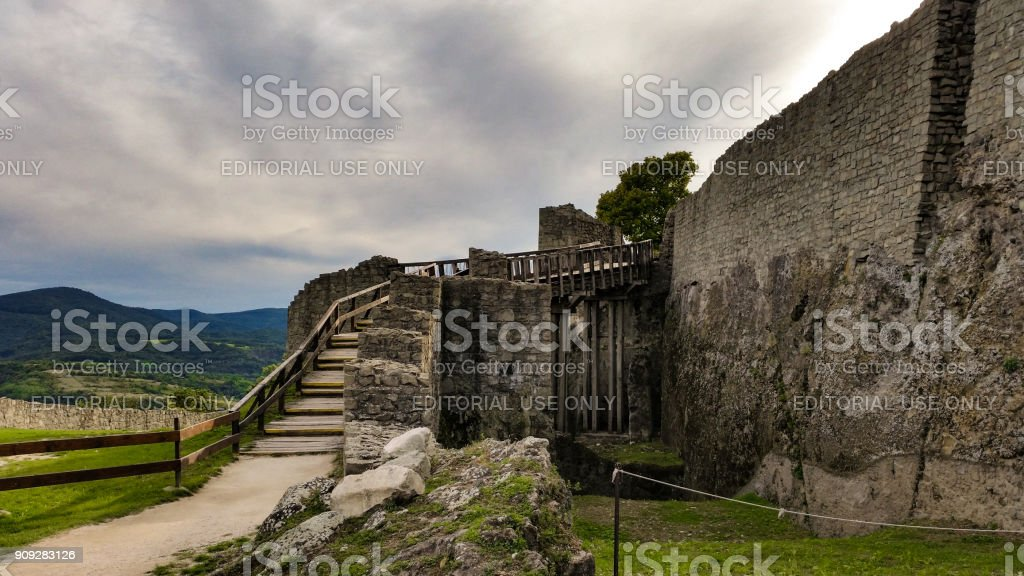 The medieval citadel is in Visegrád which is a small castle town north of Budapest on the right bank of the Danube. stock photo