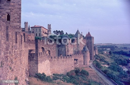 Carcassonne, Languedoc, southwest France, 1969. The famous Medieval city wall of Carcassonne.