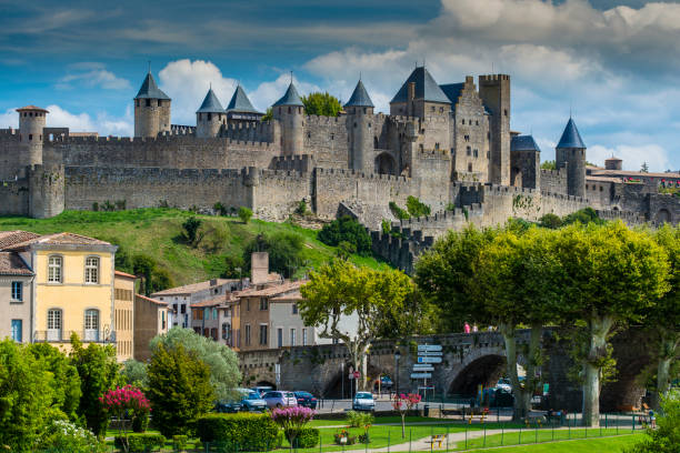 The medieval fortified city with Chateau Comtal, Carcassonne, Languedoc-Roussillon, France stock photo