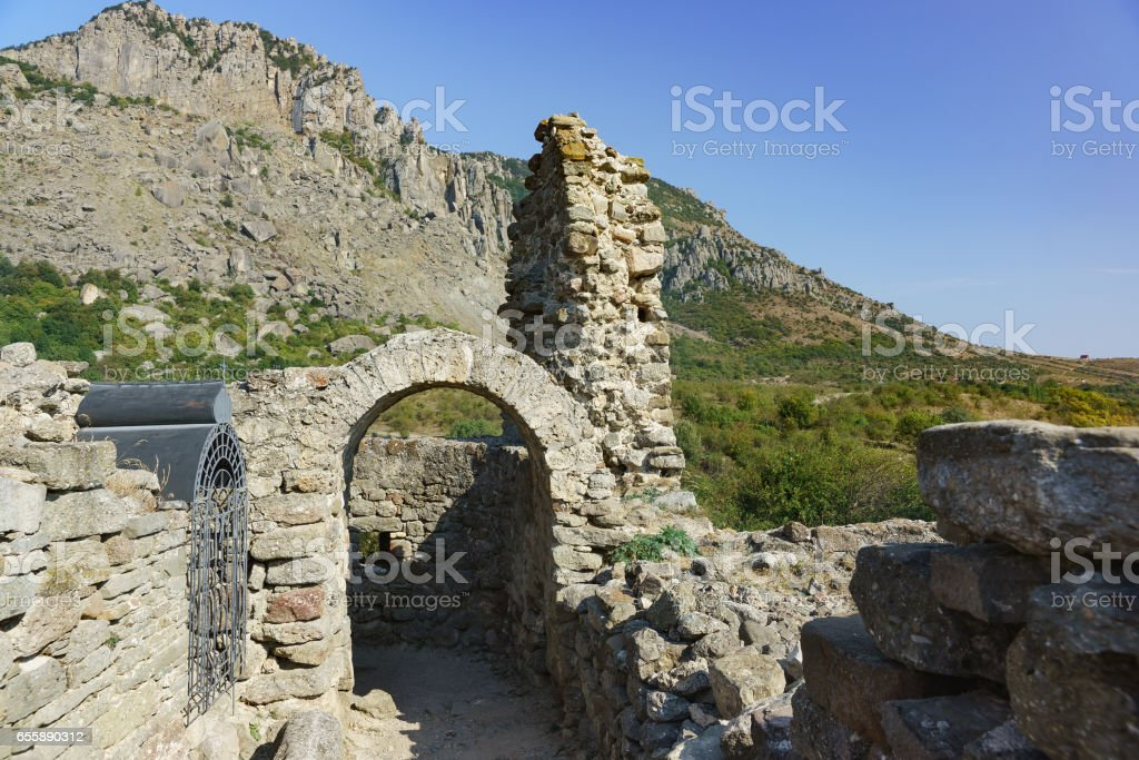 The medieval fortress Funa, located on a rocky hill at the foot of the mountain South Demerdzhi. Crimea. stock photo