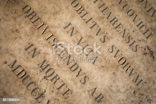 istock The Medieval Inscripton On The Floor of Outside Entry of The Church of Our Lady of Remedy in Kotor, Montenegro 851986934
