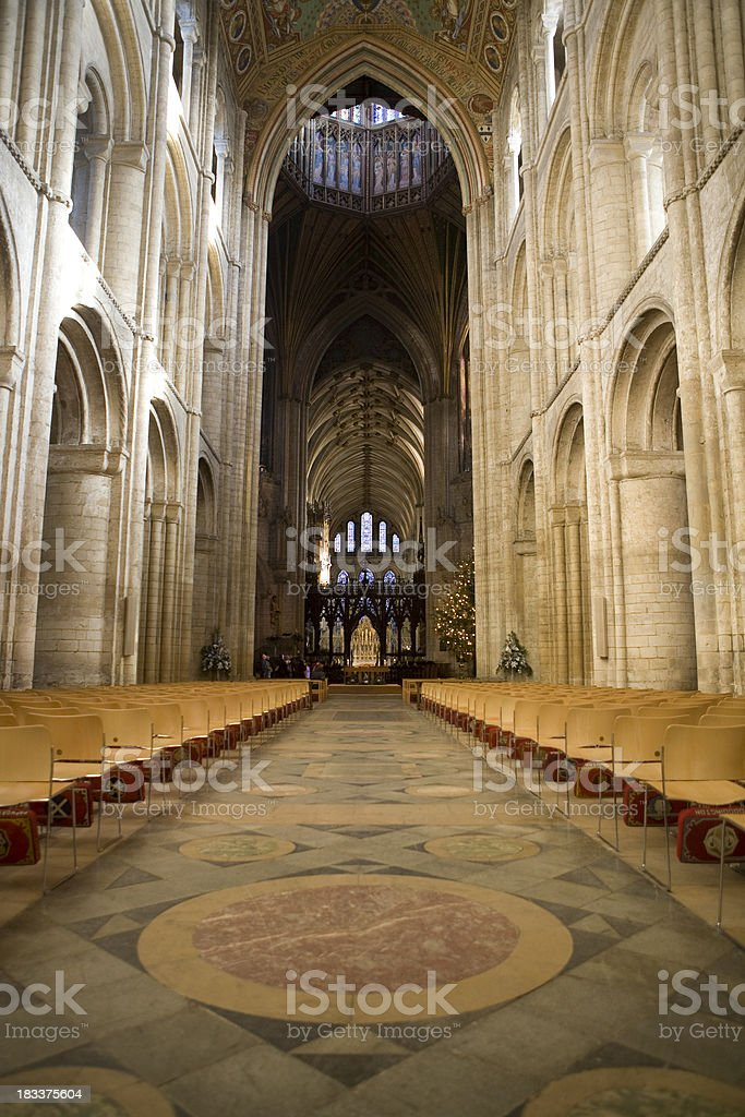 The medieval nave of Ely Cathedral royalty-free stock photo