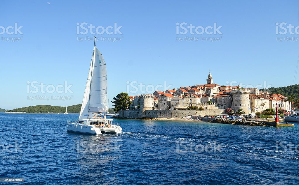 The medieval town of Korcula on the island of Korcula stock photo