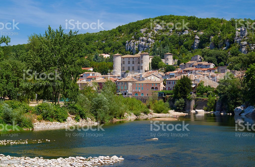 The medieval town of Vogue over River Ardeche stock photo