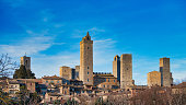 The medieval village of San Gimignano with its famous towers. in tuscany Italy