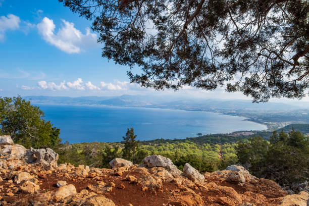 The Mediterranean Sea from Aphrodite hiking trail in Akamas, Cyprus stock photo