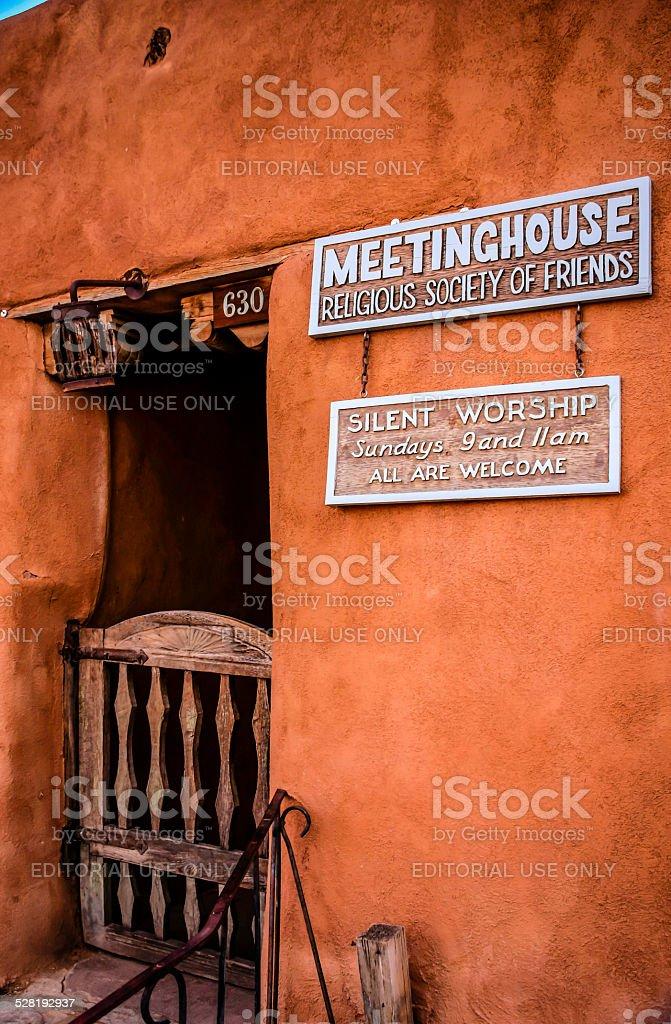 The Meeting House on Garcia Street in Santa Fe NM stock photo